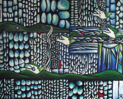 Birds Fly Through the Tears of the Rain Bracelet artist Helen Beech